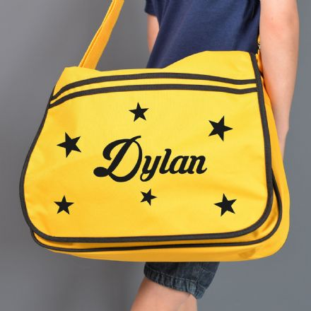 Personalised Star Yellow Retro Messenger Bag